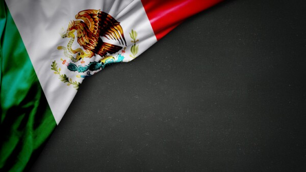 flag of Mexico on blackboard