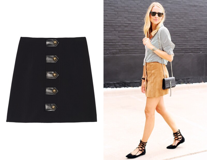 """La tendencia más clara del street style trata de faldas con inspiración setentera y botones enfrente. Chiara Ferragni y Alessandra Ambrosio son tan sólo algunas de las que han """"rockeado"""" esta pieza."""