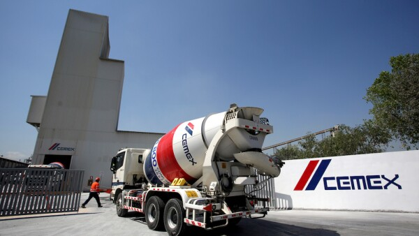 FILE PHOTO: A cement mixer truck arrives to a cement plant of Mexican cement maker CEMEX in Monterrey