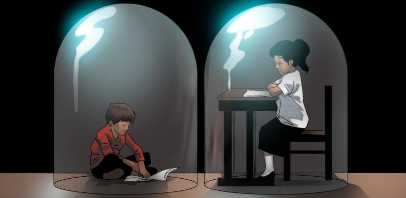 Ilustración estudiantes sin internet