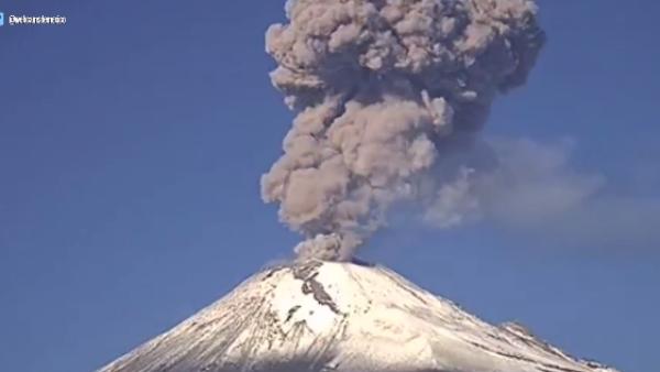 Así fue la explosión del Popocatépetl la mañana de este miércoles