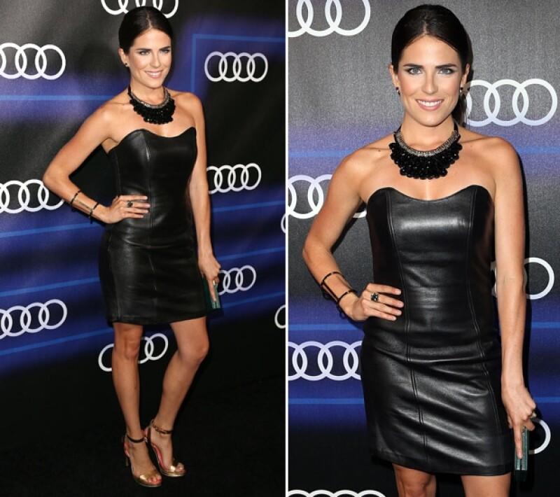 Guapa y elegante en un mini vestido de piel, la actriz acudió este jueves a la fiesta previa a la entrega de premios realizada en el restaurante Cecconi&#39s de Los Ángeles.