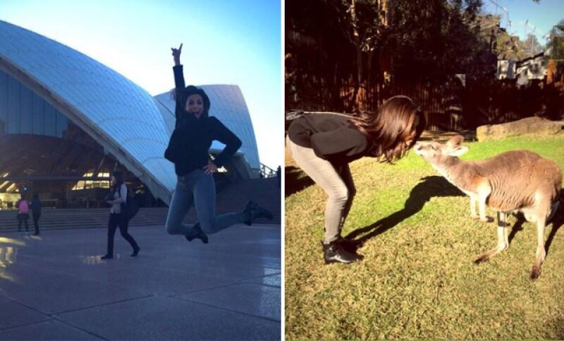 La actriz compartió estas imágenes de su visita a Australia, en donde convivió con un canguro.