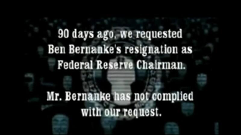 El grupo colgó un video en Internet donde explica que su petición de la renuncia de Bernanke se dio hace 90 días. (Foto: Especial)