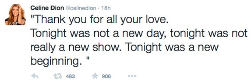 Celine Dion agradeció a los asistentes a su show en Las Vegas.