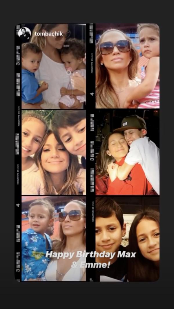 Jennifer Lopez a sus hijos Max y Emme