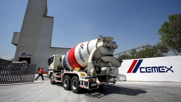 A cement mixer truck arrives to a cement plant of Mexican cement maker CEMEX in Monterrey