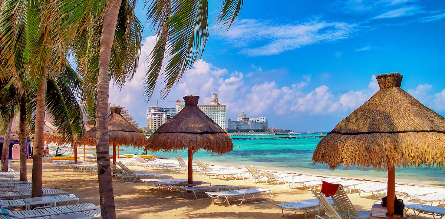 Panoramic beach scene in Cancun, Mexico.