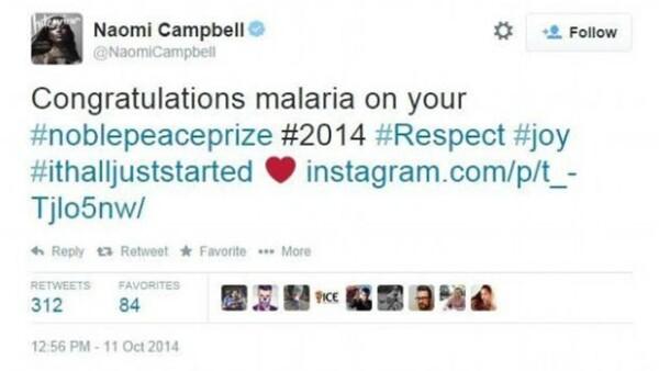 La súper modelo fue víctima del autocorrector de su iPhone al querer felicitar a la reciente Premio Nobel, Malala Yousafzai, lo cual provocó burlas en todo internet.