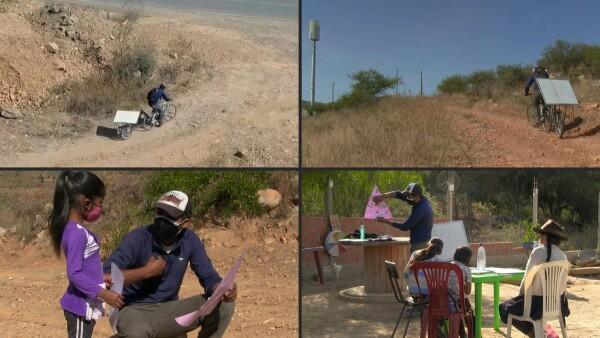 Este profesor recorre el campo en bicicleta para dar clase en cuarentena
