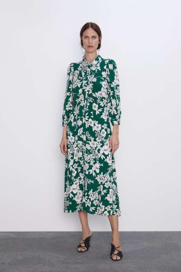 Vestido verde con flores