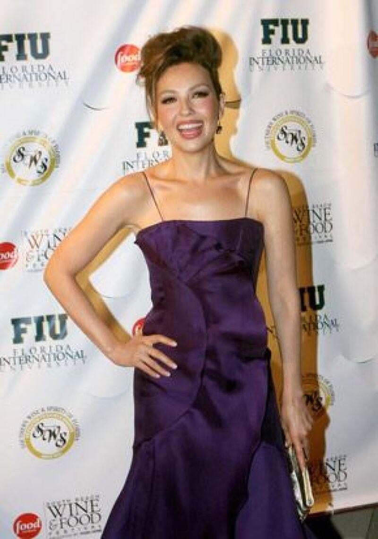Thalía lució un vestido del diseñador venezolano Ángel Sánchez.