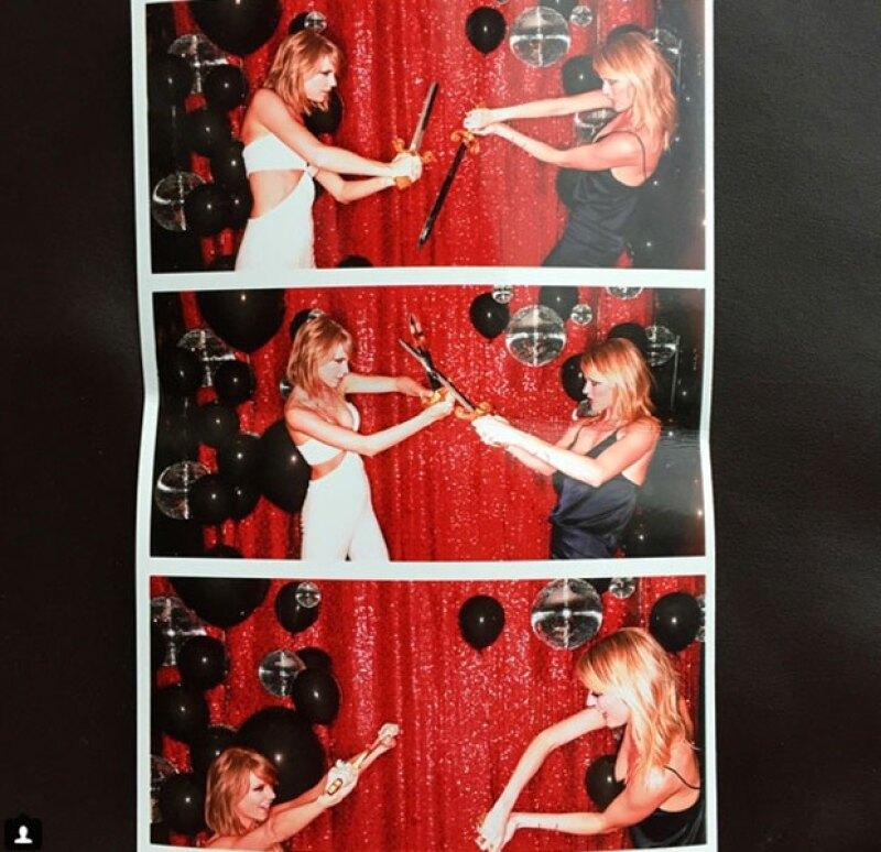 Taylor contra la modelo Martha Hunt.