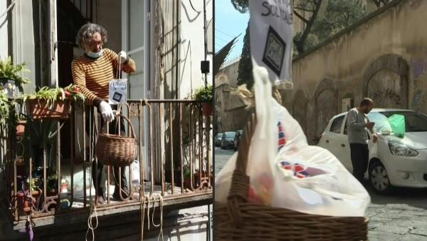 Canastas de solidaridad, la ayuda que cae desde los balcones en Italia