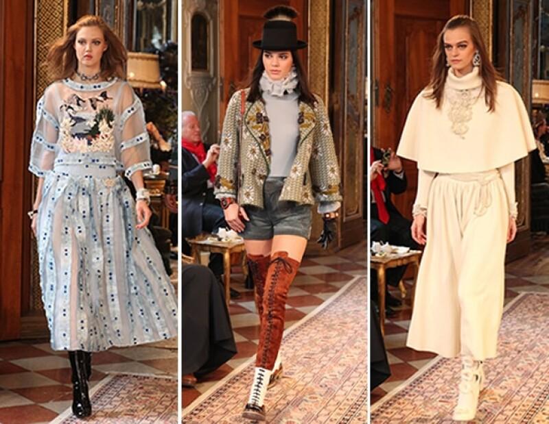 Las top models Lindsay Wixon y Kendal Jenner participaron en la edición de la colección Metiers D´Art.