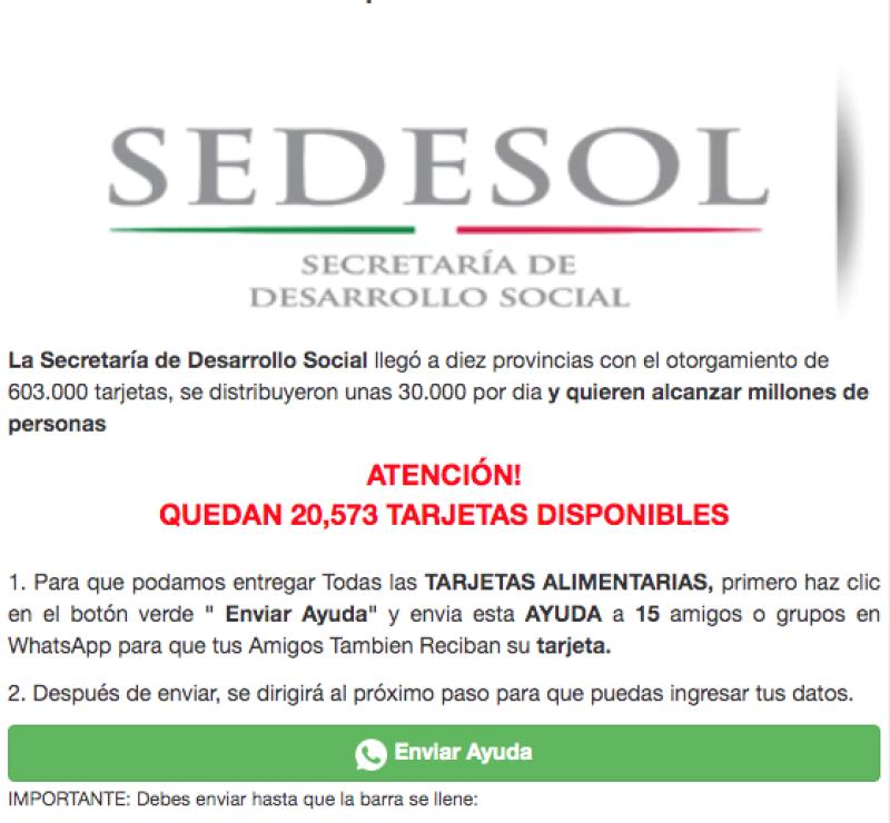 El programa es anunciado por la Secretaría de Desarrollo Social, dependencia que desapareció al iniciar el Gobierno de Andrés Manuel López Obrador. Imagen: Internet
