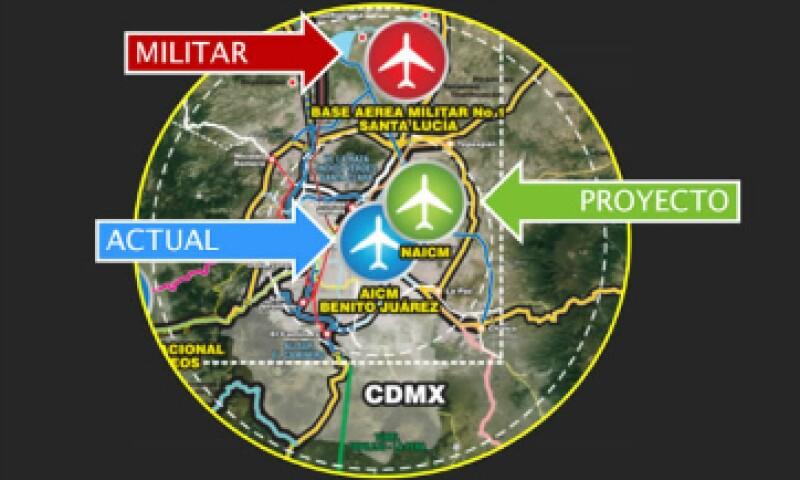La ubicación del NAICM en comparación con el actual aeropuerto y la base militar de Santa Lucía . (Foto: Twitter/Andrés Manuel López Obrador)