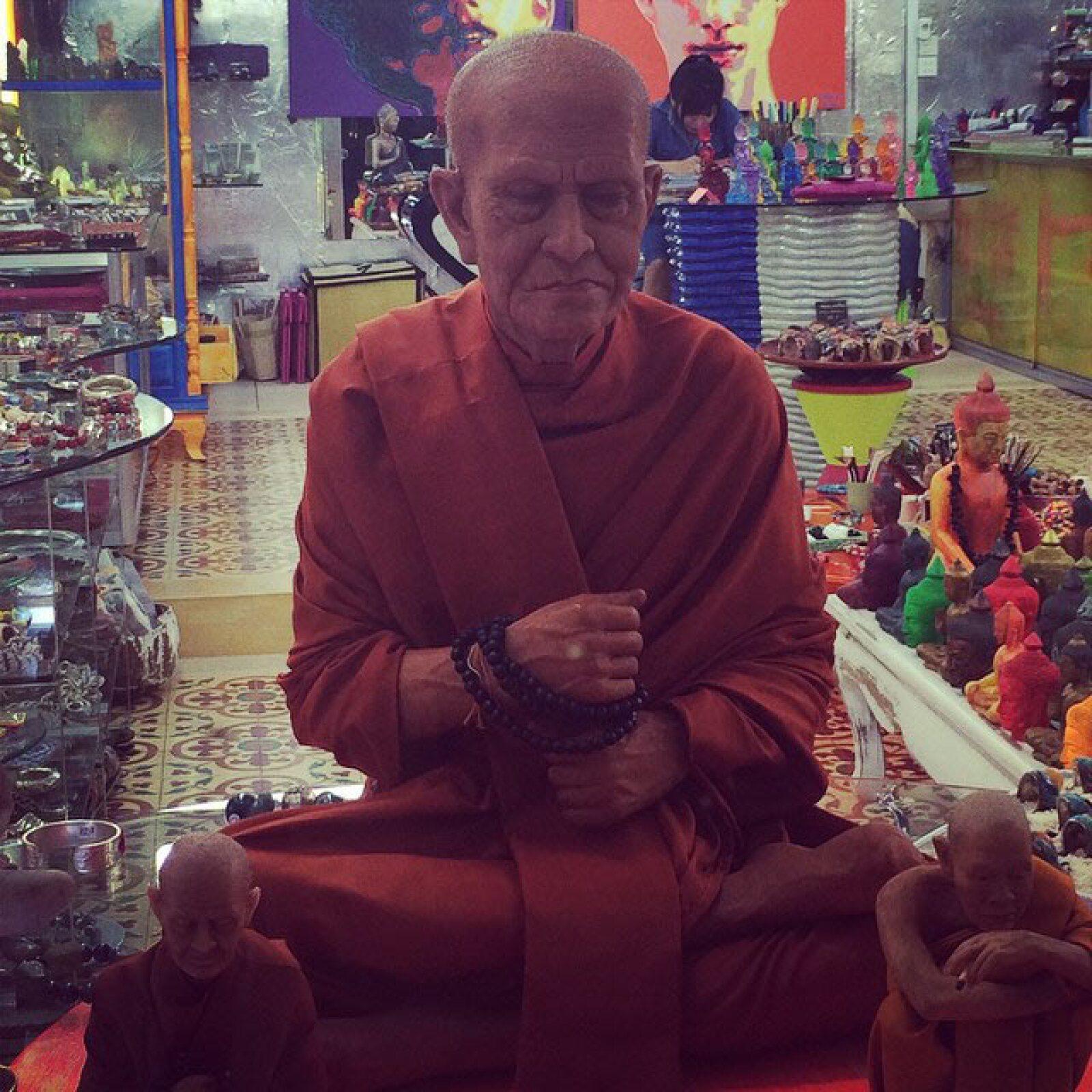 Escultura  hiperrealista de un monk, la cual dejó completamente sorprendida a Sandra. `Noup...no es real. Es la escultura de un monk!´, escribió.