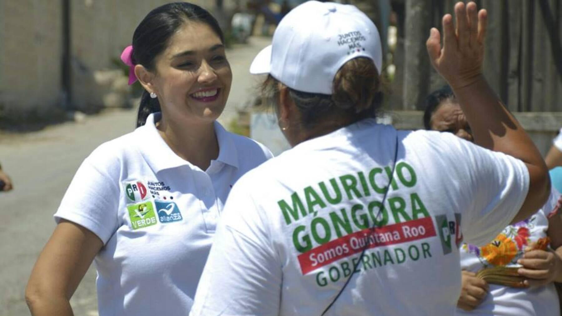 La esposa del abanderado priista, Mauricio Góngora, se ha mostrado cercana a los quintanarroenses.