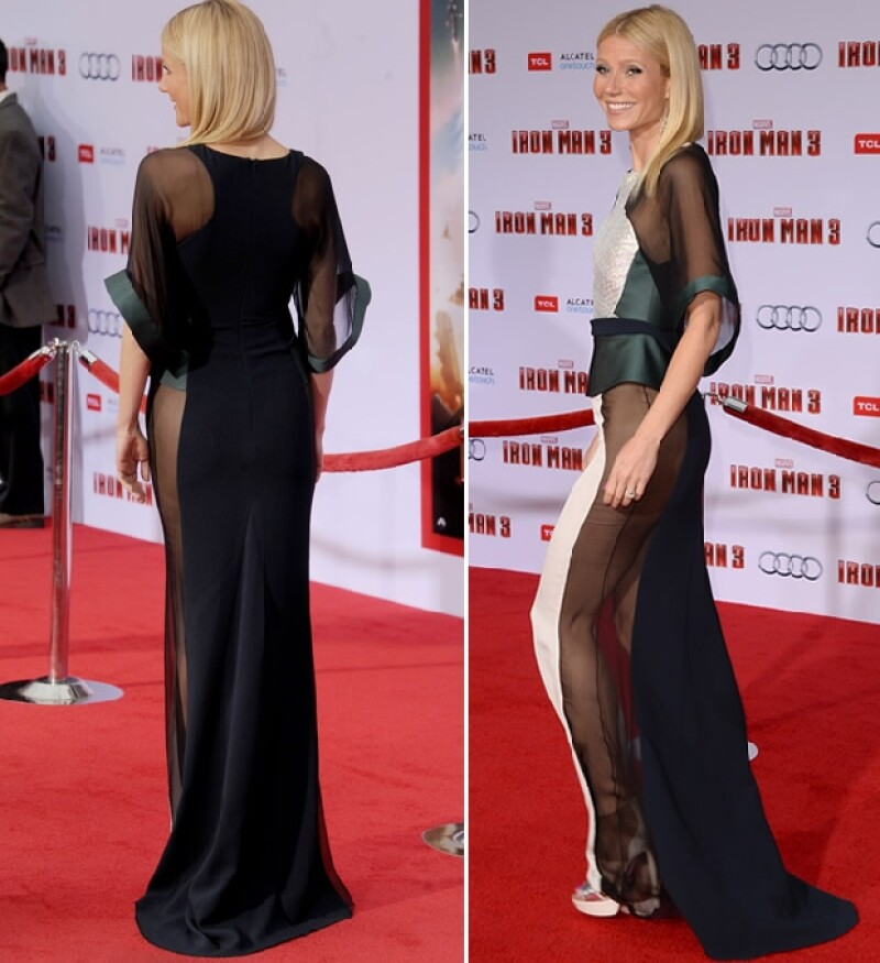 """La protagonista de """"Iron Man 3"""" sorprendió en la premiere del filme con un revelador vestido que dejó al descubierto algunos de sus atributos."""