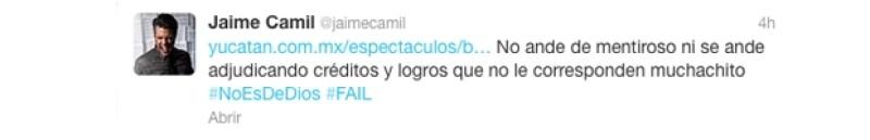 Mensaje que Jaime Camil publicó en su Twitter.