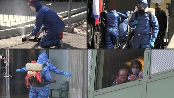 Fuerzas especiales rusas desinfectan una residencia de ancianos en Italia