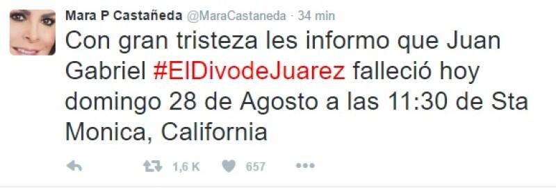 Este fue el tuit con el que Mara Patricia Castañeda informó de la muerte de Juan Gabriel