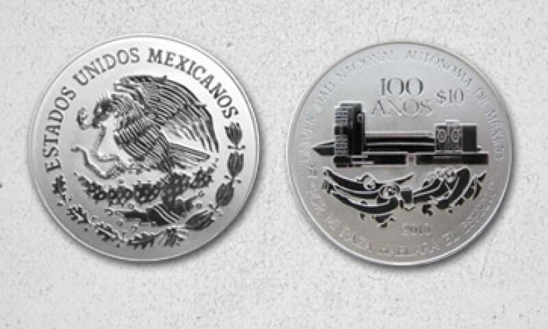 La moneda conmemora el aniversario 100 de la UNAM, que se cumplieron el año pasado. (Foto: Especial)