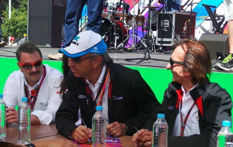 Emerson Fittipaldi, Jo Ramírez y Nigel Mansell,