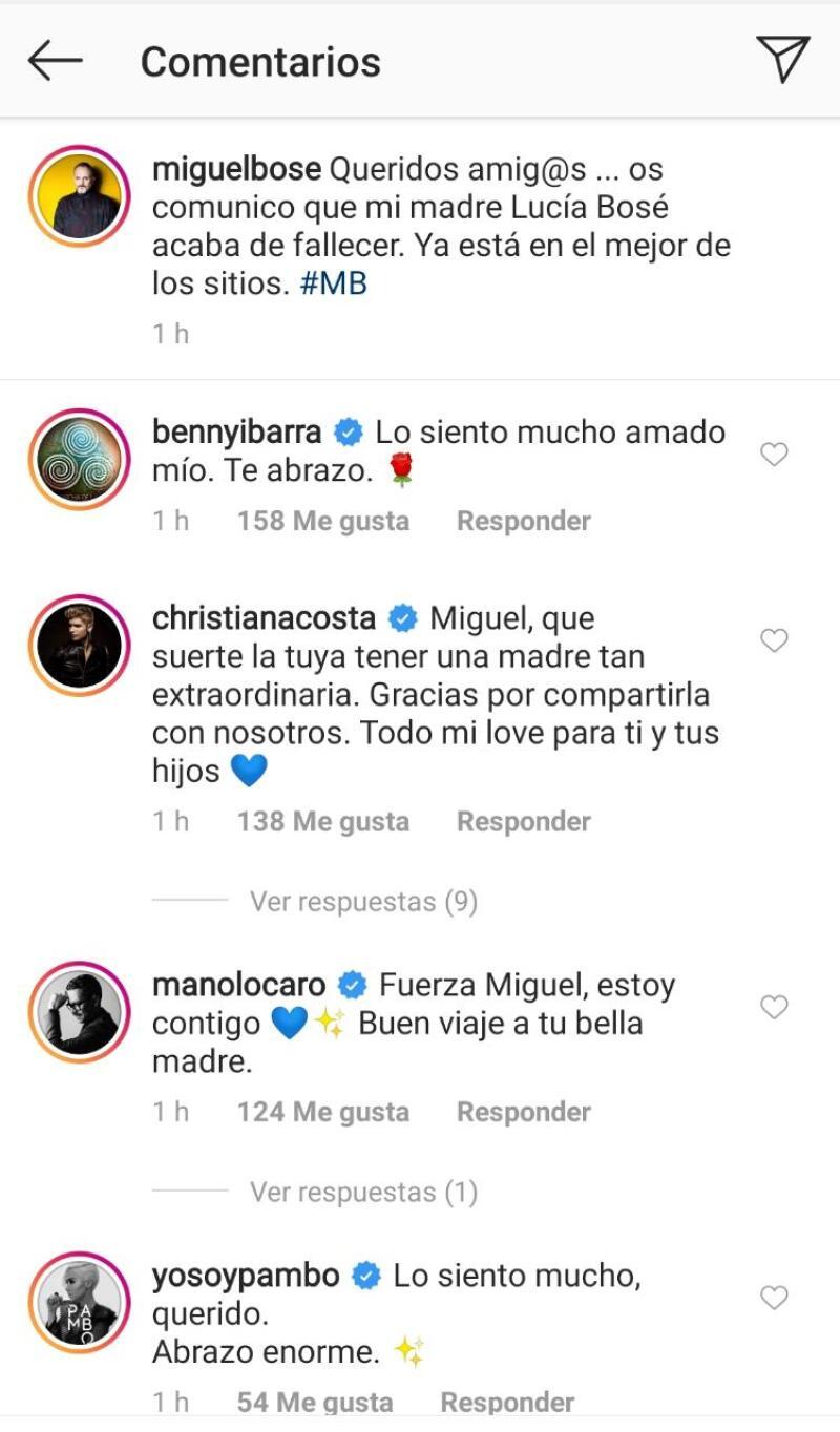 Famosos dan sus condolencias a Miguel Bosé