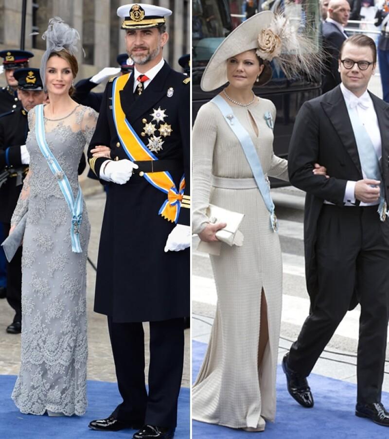 Los príncipes de Asturias Letizia y Felipe, Victoria de Suecia con su esposo Daniel.