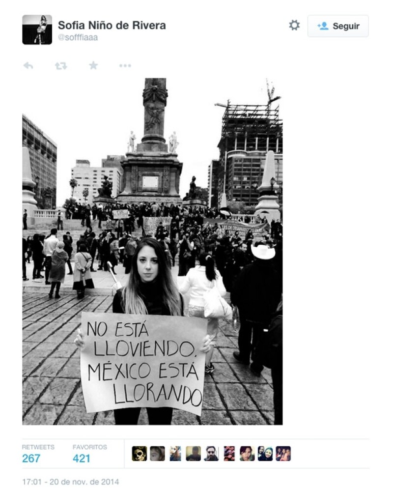 """""""No está lloviendo, México está llorando"""", Sofía Niño de Rivera presente en la marcha a favor de los 43 desaparecidos."""