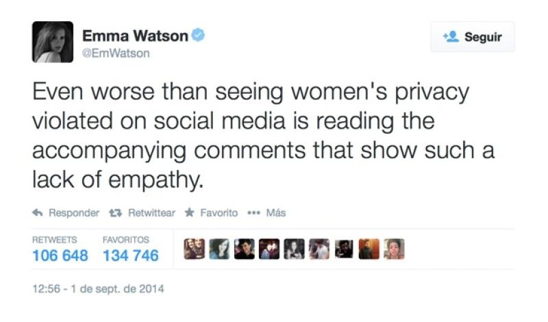 La actriz que sorprendió con su reciente discurso sobre el feminismo repudió las acciones del hacker que filtró la intimidad de cientos de mujeres famosas.