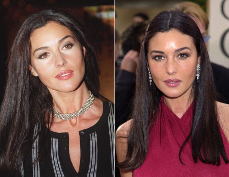 Monica Bellucci en red carpets de 2000 y 2001, respectivamente.