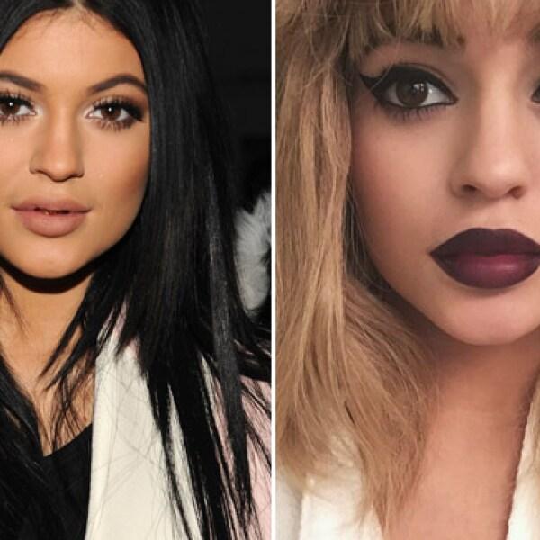 Continuando con los ejemplos de su hermana, Kylie se transformó no solo con maquillaje, sino también con el pelo.