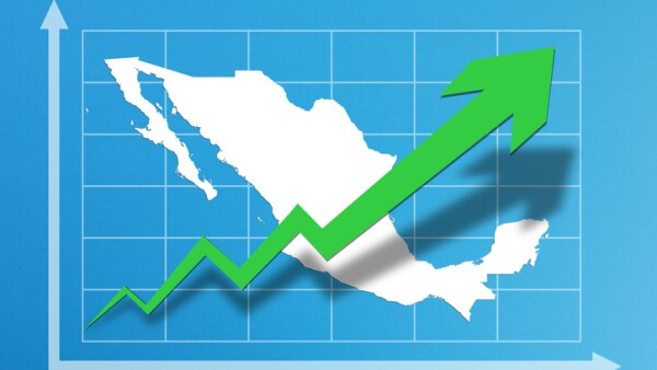 Business growth chart with Mexico map on blue background