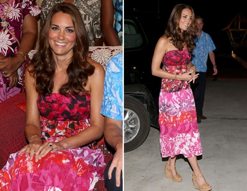 Kate Middleton utilizó este vestido rosa, originario de las Islas Cook, en lugar del atuendo correcto destinado para el evento en las Islas Salomón.