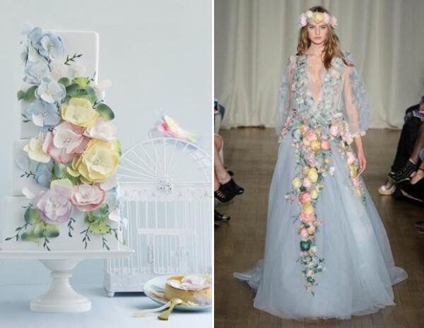 The Caktress confiesa que desde que vio esta pasarela de primavera de Marchesa, se imaginó un pastel con flores de azúcar.