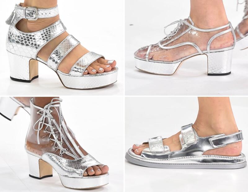 Zapatos metálicos de Chanel.