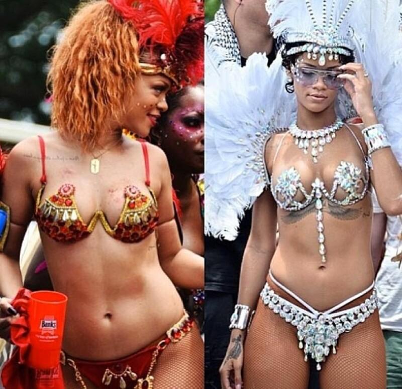 Rihanna en 2011 y 2013.