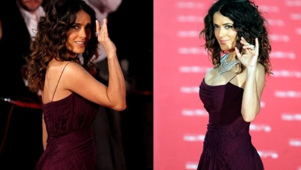 Salma lució guapísima en la alfombra roja de los premios Goya 2012, donde usó un sexy vestido Gucci.