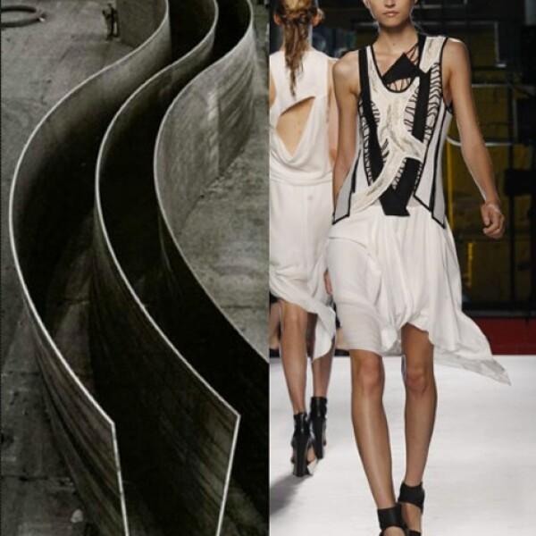 Las esculturas de metal del artista minimalista Ricardo Serra fueron retomadas para la gama estival de Helmut Lang.
