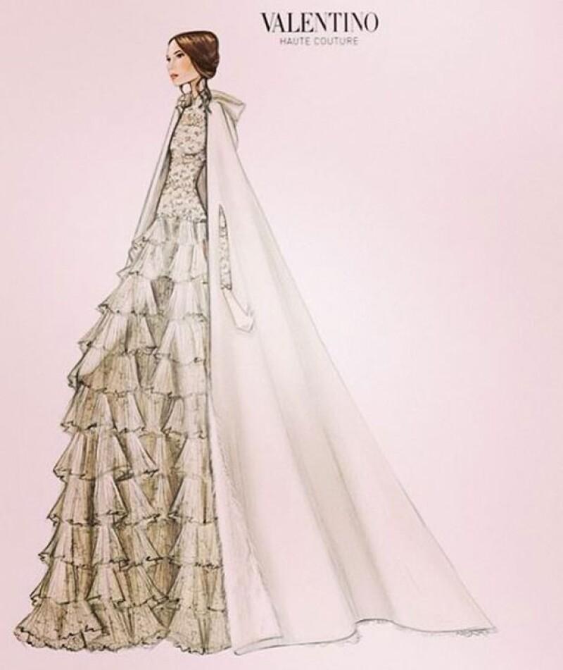 El diseñador Valentino reveló el boceto del vestido que lució Tatiana en su boda.