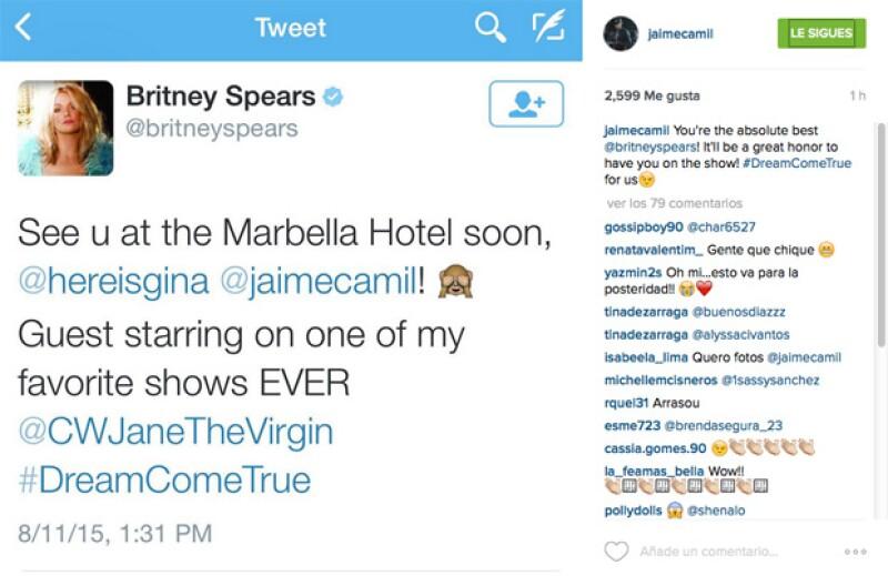 Britney Spears anunció su participación en la serie, mencionando a Jaime Camil, y él respondió en sus redes sociales.