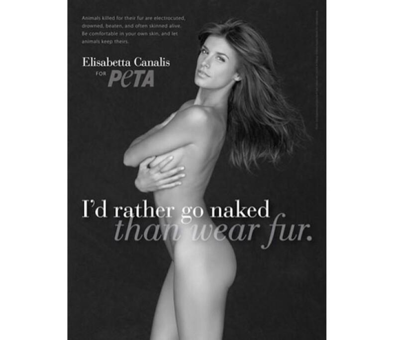 Elisabetta Canalis se despojó de su ropa en pro de los animales, por lo que ahora se puede ver su bella figura en los nuevos anuncios de PETA.