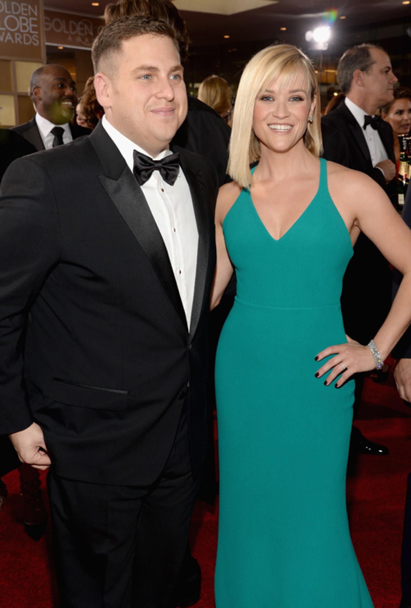 Jonah Hill sorprendió al posar en la alfombra roja junto a la hermosísima Reese Witherspoon.