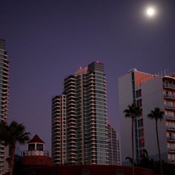 ciudad, noche, luna, california, viaje