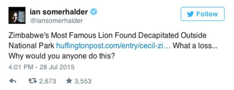 'El león más famoso de Zimbawe encontrado decapitado afuera del Parque Nacional. Qué pérdida... ¿Por qué alguien haría esto?'