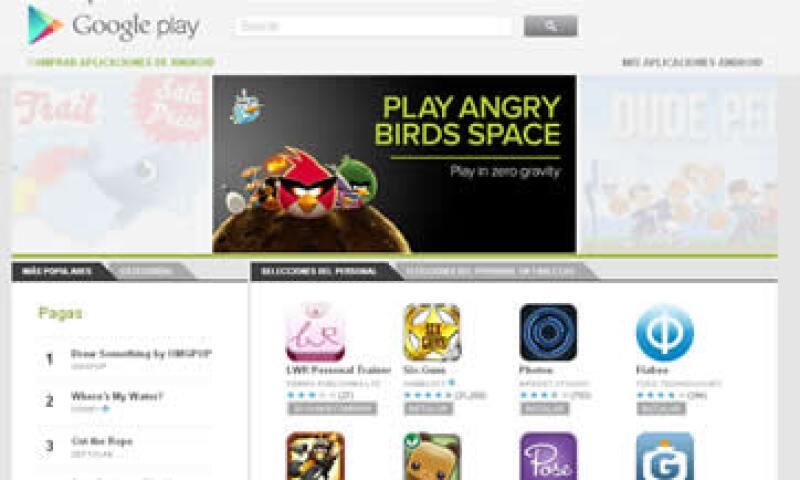 En Google Play te recibe un carrusel en el que destacan aplicaciones mundialmente famosas como Angry Birds. (Foto: Tomada de play.google.com)