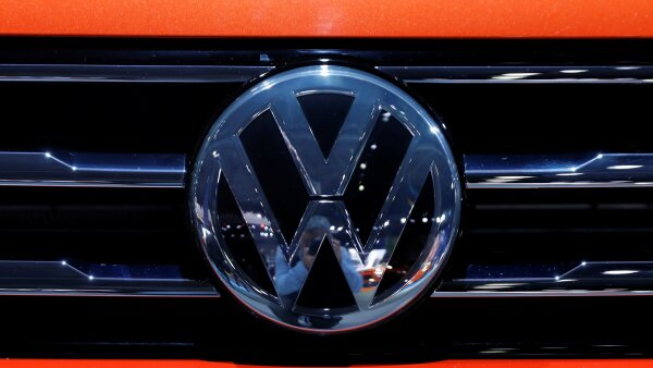 FILE PHOTO: The Volkswagen logo is seen on a vehicle at the New York Auto Show in New York